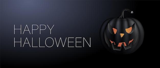 Mystische vektorgrafik. glückliches halloween-banner. festlicher hintergrund mit realistischen schwarzen 3d-kürbissen mit geschnittenem gruseligem lächeln. grafikdesign für halloween-partys.