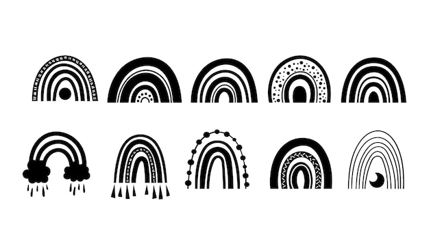 Mystischer boho-regenbogen isolierte cliparts bündeln schwarz-weiß-regenbogen-vektor-illustration