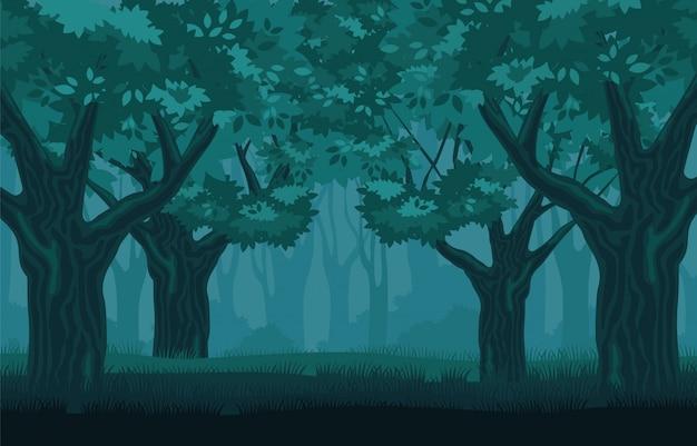 Mystischer düsterer wald. geheimnisvolle jahrhundertealte bäume in der dunkelheit.