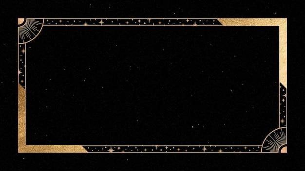 Mystischer goldener rahmen auf schwarzem hintergrund