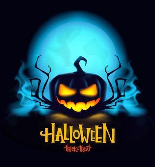 Mystischer halloween-kürbis mit brennenden augen.