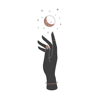 Mystischer himmlischer halbmond über frauenhand im vintage-stil. spirituelles elegantes symbol für das markenlogo. esoterische magie vektor-illustration