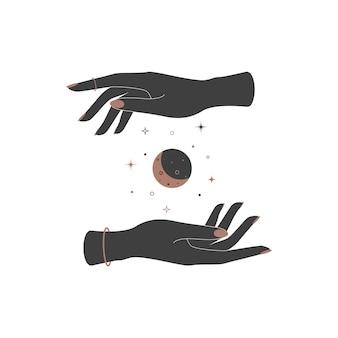 Mystischer himmlischer halbmond zwischen frauenhänden. spirituelles elegantes symbol für das markenlogo. esoterische magie vektor-illustration