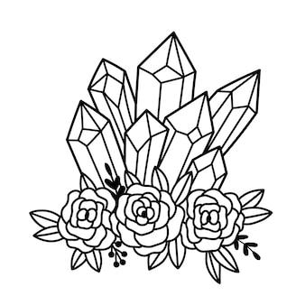 Mystischer kristall und rosen magische kristalle