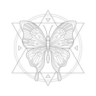 Mystischer schmetterling. heilige geometrie. schmetterling in dreiecken und kreisen.
