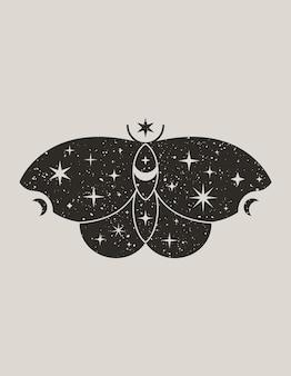 Mystischer schwarzer schmetterling im trendigen boho-stil. vector magic moth silhouette mit sternen und mond zum drucken auf wand, t-shirt, tätowierung, social-media-post und geschichten