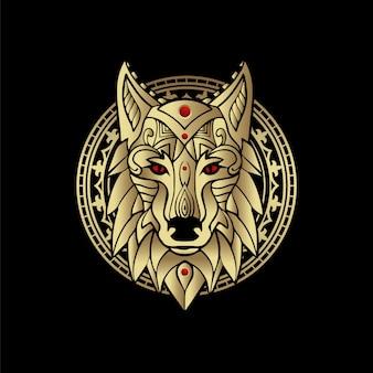 Mystischer wolf in schwarz und gold. für tarot-leser, spirituelle führung, hexerei