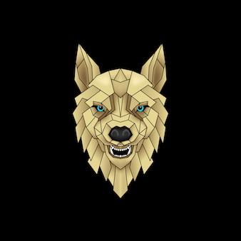 Mystischer wolf in schwarz und gold