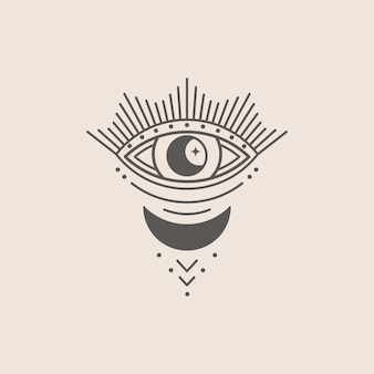Mystisches auge und mondsymbol in einem trendigen minimalen linearen stil. isoterische vektorgrafik für t-shirt-drucke, boho-poster, cover, logo-designs und tattoos.