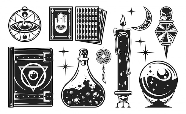 Mystisches monochrom-set.