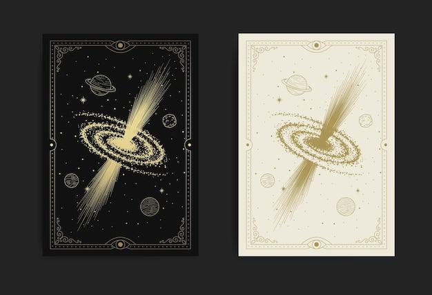Mystisches schwarzes loch im sternenklaren weltraum-luxusgravurillustration