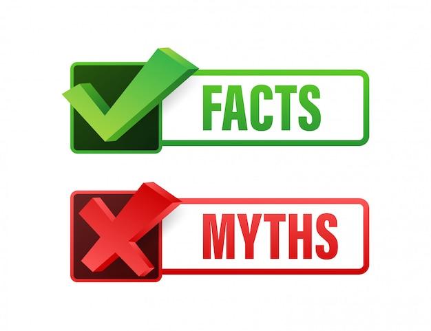 Mythen fakten. fakten, großartig für jeden zweck. illustration.