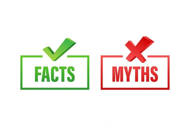 Mythen fakten. fakten, tolles design für jeden zweck. lager illustration.