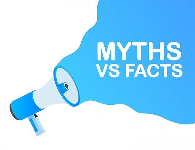 Mythen gegen fakten. symbol auf weißem hintergrund. versus gegen hintergrund. symbol. weißer hintergrund.