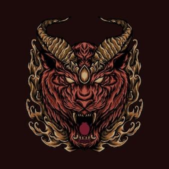 Mythische löwendrachenkopfillustration für t-shirt oder druckprodukt Premium Vektoren