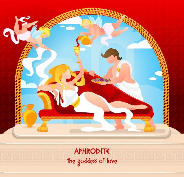 Mythologie ist aphrodite, die göttin der liebe, geschrieben