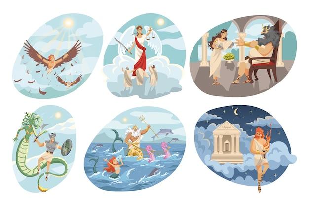 Mythologische religiöse altgriechische serie des fliegens