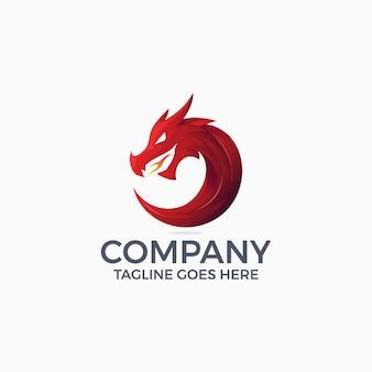 Mythologische tiere drachen maskottchen logo design-vorlage