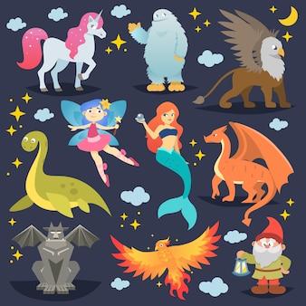 Mythologische tiervektor fabelwesen phönix oder fantasiefee und charaktere der mythologie meerjungfrau oder einhorn und greif illustration satz von cartoon-bestien isoliert