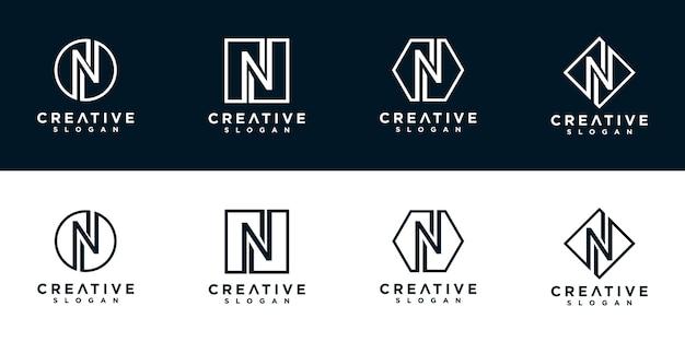 N initialen der logo-designvorlage