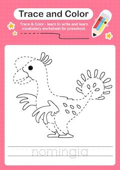 N verfolgungswort für dinosaurier und färben des verfolgungsarbeitsblatts mit dem wort nomingia