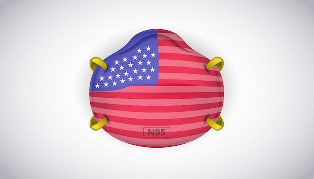 N95 gesichtsmaskenschutz mit usa america flag sicherheit