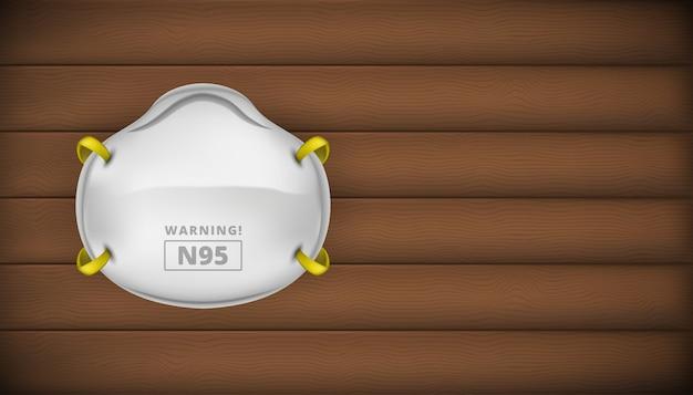 N95 gesichtsmaskenschutz sicherheit für coronaviren 3d realistisch auf holz