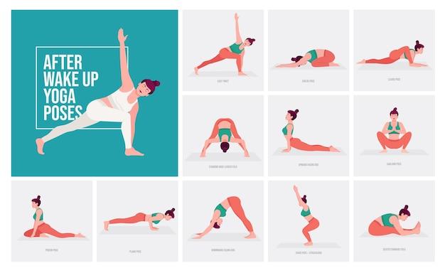 Nach dem aufwachen yoga-posen junge frau praktiziert yoga-posen