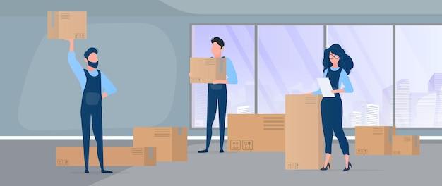Nach hause ziehen. büroumzug an einen neuen standort. umzugsunternehmen tragen kisten. das konzept des transports und der lieferung von waren. .