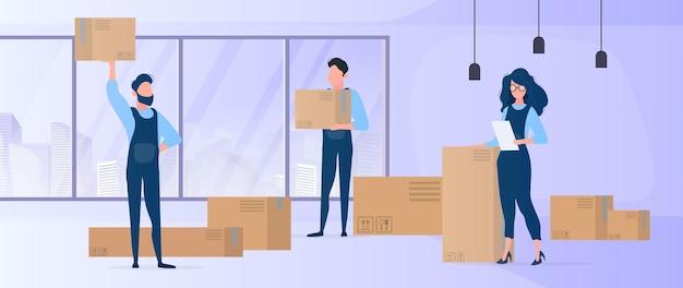 Nach hause ziehen. büroumzug an einen neuen standort. umzugsunternehmen tragen kisten. das konzept des transports und der lieferung von waren.