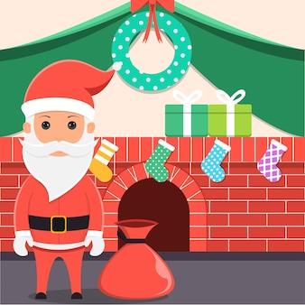 Nach vorne gerichteter weihnachtsmann mit geschenken in einem dekorierten raum