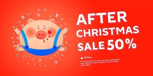 Nach weihnachtsverkaufsbanner mit dickem schwein