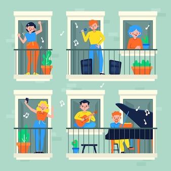 Nachbarn auf balkonen in quarantäne