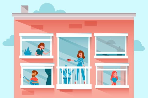 Nachbarn auf balkonen und fenstern zur quarantäne