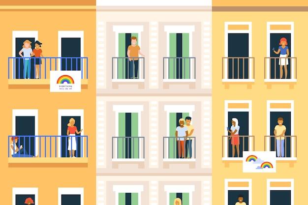 Nachbarn auf balkonen