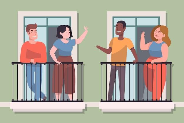 Nachbarn auf balkonillustrationskonzept