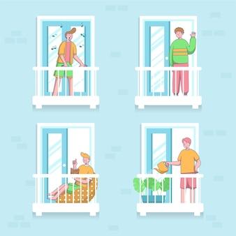 Nachbarn auf balkonkonzept