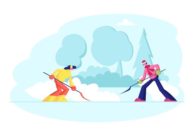 Nachbarn, die schnee vom hinterhof nach schneefall räumen. karikatur flache illustration