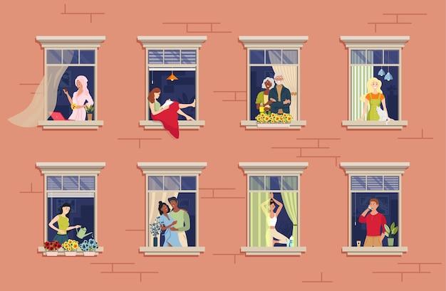 Nachbarn im fenster. nachbarschaftsbeziehungskommunikation. verschiedene aspekte der nachbarn durch die fenster gesehen.