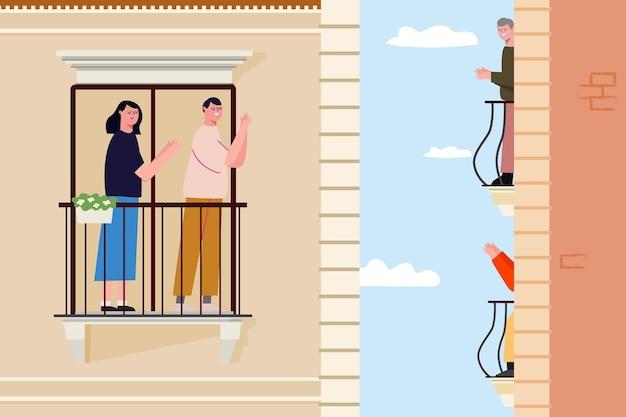 Nachbarn klatschen an ihre fenster und balkone