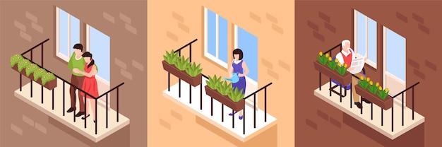 Nachbarn und menschen auf balkonen setzen illustration