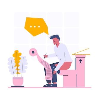 Nachdenken über neue idee während der verwendung der toilette, karikaturartillustration