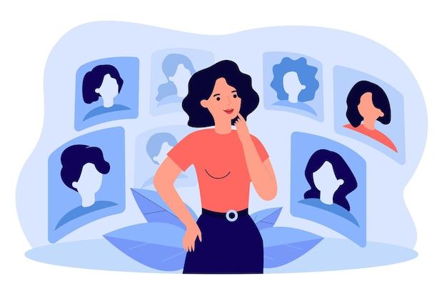 Nachdenkliche frau, die frisur im cyberraum lokalisierte flache illustration wählt. karikaturdame, die verschiedene haarschnitte im internet online betrachtet. digitales technologie- und schönheitskonzept