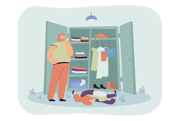 Nachdenkliche frau, die kleidung in der flachen illustration der garderobe wählt.
