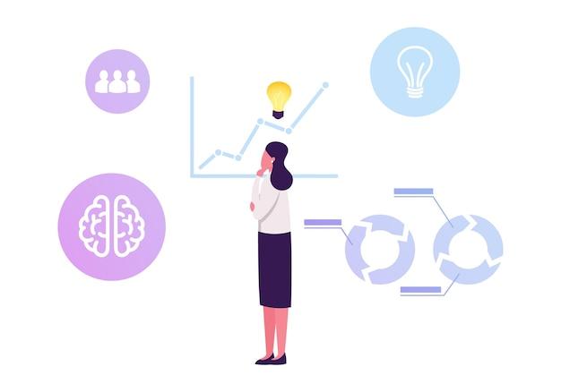 Nachdenkliche geschäftsfrau mit glühender glühbirne über kopf stehen am wachsenden pfeil-diagramm, das statistikdaten analysiert. karikatur flache illustration