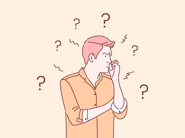 Nachdenkliche, verwirrte flache farbillustration des geschäftsmannes. junger mann denkt, trifft entscheidung, löst problem isolierte zeichentrickfigur mit umriss. nachdenklicher, gestresster typ mit fragezeichen