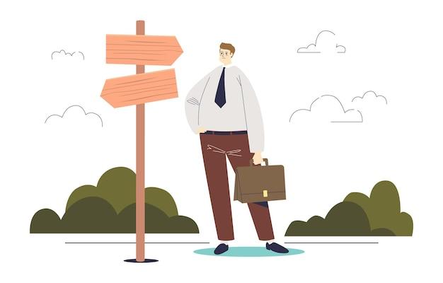 Nachdenklicher geschäftsmann am scheideweg, der die richtige richtung, entscheidung und problemlösung wählt. berufswahl und strategie des entwicklungskonzepts. karikatur flache illustration