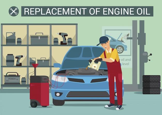 Nachfüllung von motorenöl. auto-service-arbeiter. ölwechsel. tankstelle. bedienung. mann in roter uniform. haube öffnen.