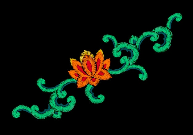 Nachgemachte verzierung der nationalen koreanischen orientalischen stickerei, lotus