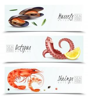 Nachhaltige auswahl an meeresfrüchten 3 realistische horizontale banner mit muscheln, garnelen, oktopus-vorspeisen-cocktail-zutaten, isoliert